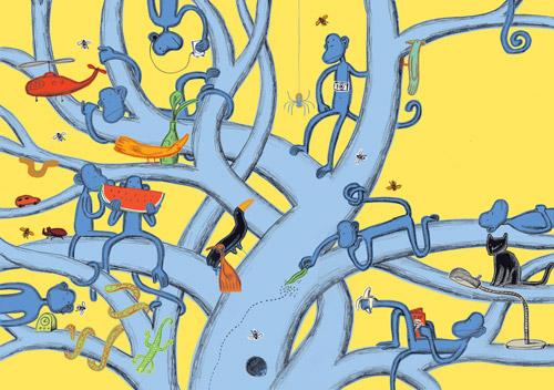 Guido Scarabottolo, Due scimmie in cucina, Topipittori 2006